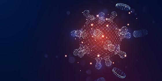 Novel Coronavirus (2019-nCoV). Virus Covid 19-NCP. Coronavirus nCoV denoted is single-stranded RNA virus. Background blue virus cells, blood platelets, capsule pills. Digital 3d vector illustration