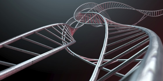 An abstract strand of a thread of interconnected steel cube bars forming a curled DNA type structure on an isolated background
